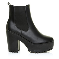 ASHLEY Black PU Faux Leather Chunky Chelsea Ankle Boots