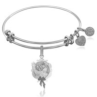 Expandable Bangle in White Tone Brass with Frosty The Snowman In Wreath Symbol