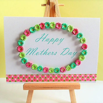 Mothers day Card, quilled card, handmade card, greeting card, Mothers day, card for Mum, blank card, Mother card, card for her, mum card