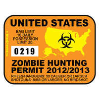 United States Zombie Hunting Permit Vinyl Sticker by WeirdStickers