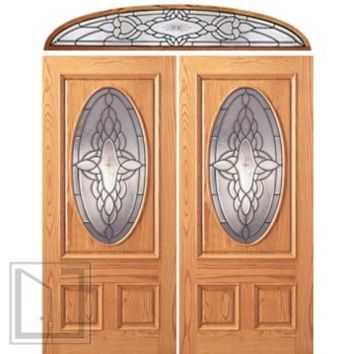 Prehung Mahogany Oval Lite Entry Double Door Elliptical Transom