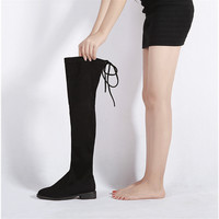 11 11 Promotion Women Stretch Suede Over the Knee Boots Flat Thigh High Boots Sexy Fashion Shoes Woman Plus Size 35-46