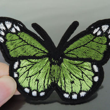 Iron On Patch or Sewing on Embroidery Green Butterfly Patches Appliques Embroidered Patch