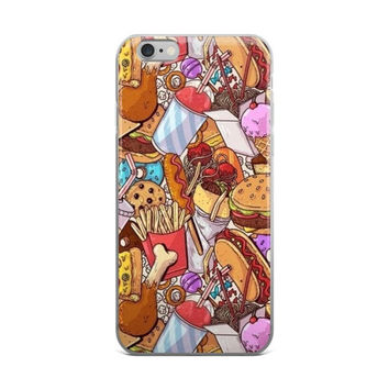 Chicken Burger Hot Dog Corn Dog Cookie Shake & French Fries Junk Food Collage Food Lover iPhone 4 4s 5 5s 5C 6 6s 6 Plus 6s Plus 7 & 7 Plus Case