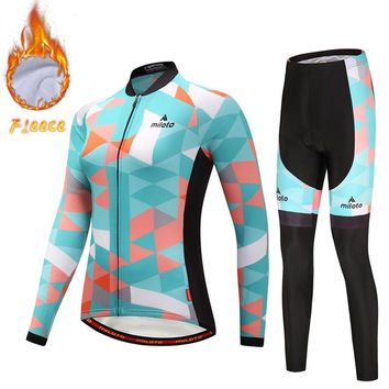 Winter Thermal Women's Cycling Set Long Sleeve Retro Cycling Jerseys & Thermal Bike Pants Set Fleece Reflective XS-5XL
