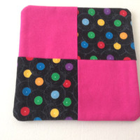 Fun Retro Pot Holder Trivet, Hot Pink and Black Records