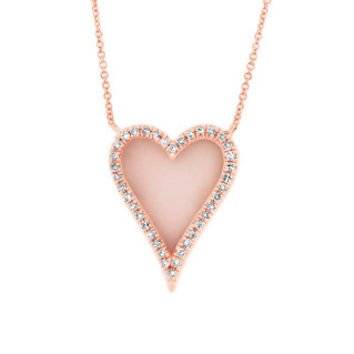 0.09ct Diamond & 0.61ct Pink Opal 14k Rose Gold Heart Necklace