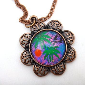 Hand Painted Palm Tree Necklace