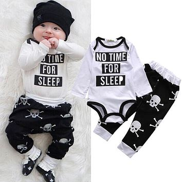 2 Pcs Babies Clothing Set Newborn Baby Kids Girl Boy Outfit Infant New Kid Bodysuit Onesuit+Skull Pants Xmas Outfits Clothing Set