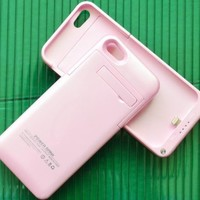 Slim External Rechargeable Backup Battery Charger Charging Case Cover for iPhone 5c with Pop-Out Kickstand 2200mAh (pink)