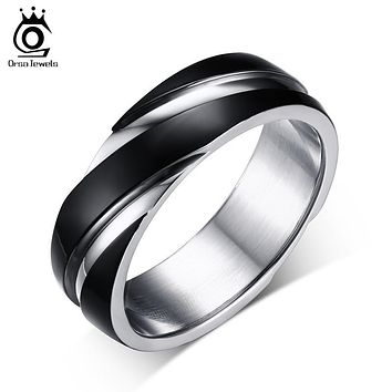 ORSA JEWELS 2017 New Fashion Daily Wear Rings Top Quality Lead & Nickel Free Black Color Stainless Steel Men Party Rings OTR60