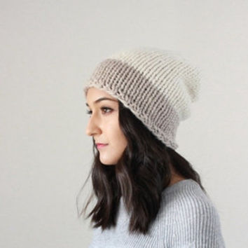 AUTUMN SALE Knit Slouchy Two-Tone Hat slouchy knit Beanie Slouchy Chunky Knit Wool Beanie Hat toque winter // The Duo-Toned Oxford - LINEN +