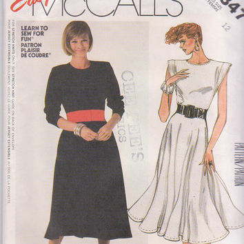 Vintage 1980s pattern for easy knit dress with circle skirt and long or cap sleeves misses size 12 bust 34 McCalls 2347 UNCUT