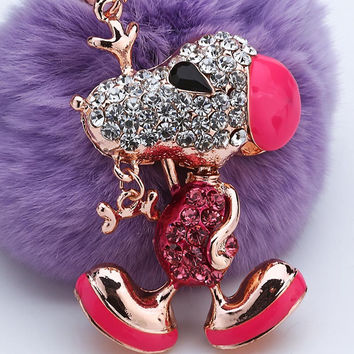 Crystal Dog Keyring With Artificial Rabbit Fur Ball For Car, Purse, Wallet
