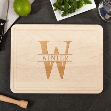 Medium Family Name Engraved Maple Wood Cutting Board, 9 x 12