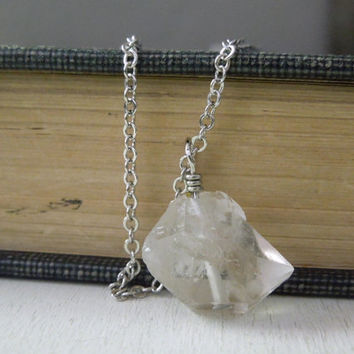 Clear Terminated Crystal Necklace - Natural Clear Quartz Double Point Pendant Necklace Silver Chain stone no.5