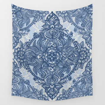 Denim Blue Lace Pencil Doodle Wall Tapestry by Micklyn