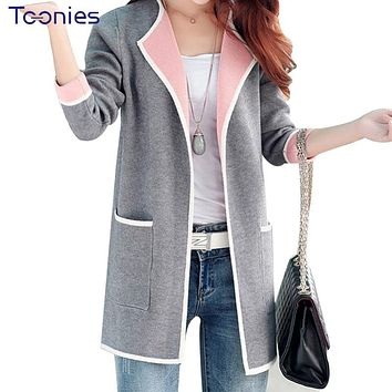 WomenAll-match Patchwork Full sleeve Slim Pocket Knitted Cardigan Sweater