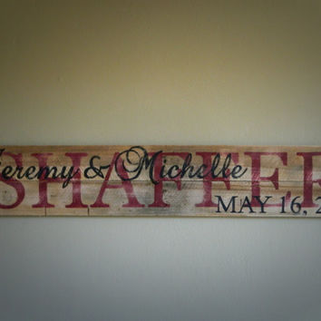 Handpainted Wedding Marriage Names and Date, Reclaimed Wood Pallet Art, Rustic and Shabby Chic