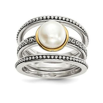 Two Tone Antique Freshwater Pearl Three Piece Ring Set