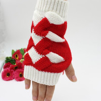 NEW ARRIVAL winter thick Knitted Fingerless Gloves Arm Warmers 20pairs/lot mixed colors #3894