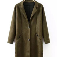 Front Button Trench Coat with Pocket