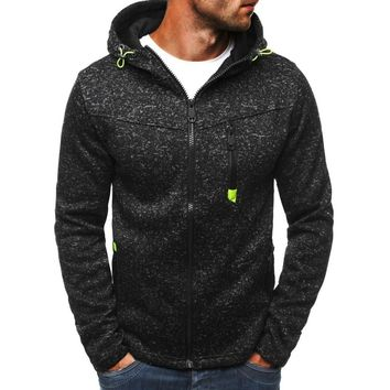 2018 New Fashion Men's Sports and Leisure Jacquard Hooded Sweatshirt Zipper Hoodies Cashmere Cardigan Hooded Jacket
