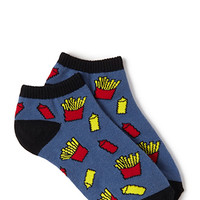 FOREVER 21 Ketchup & Fries Ankle Socks Blue/Black One