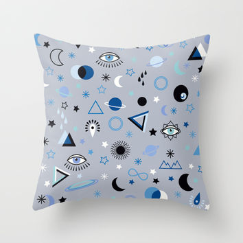 blue universe Throw Pillow by Marta Olga Klara