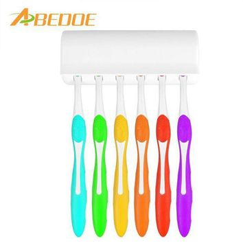 MDIGYN5 ABEDOE Toothbrush Holder for 6 Toothbrushs with Cover Double-sided Tape Bathroom Sets Suction Hooks Tooth Brush Container