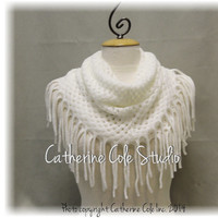 CHIC FRINGE Cream scarf fringe scarves knit scarf women fall scarf infinity scarf tube scarves womens scarf Catherine Cole Studio SC5