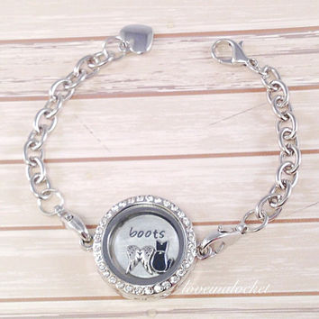 Cat Memorial Locket Bracelet, Cat Memorial Gift, Cat Loss Jewelry, Pet Memorial Gift, Pet Memorial Bracelet, In Memory of my Cat, Pet Loss