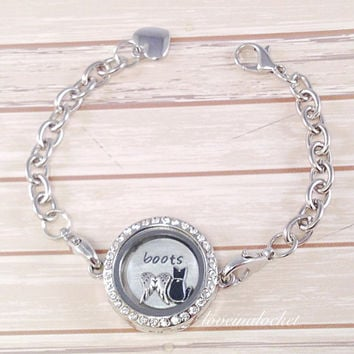 Cat Memorial Locket Bracelet Gift Loss Jewelr