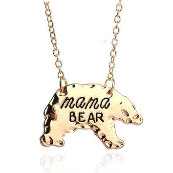 Dreamlikelin Gold Silver Personalized Mama Bear Pendant Necklaces Mothers Day Birthday Gift For Mom Fashion Jewelry