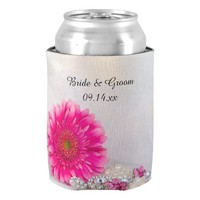 Pink Daisy and Buttons Wedding Can Cooler