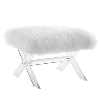 Swift Sheepskin Bench Clear White EEI-2843-CLR-WHI
