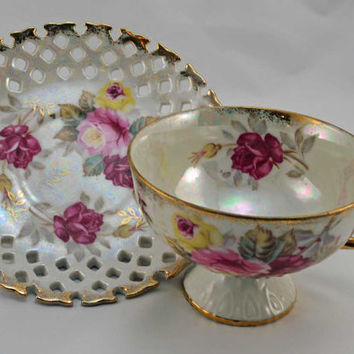 Cup and Saucer, Collectible Royal Halsey, Very Fine China, Tea Cup and Saucer (1)
