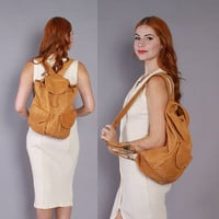 80s Golden Brown LEATHER BACKPACK / 1980s Oversized Overnight Daypack School Bag