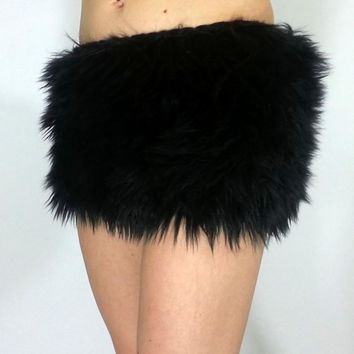 Black Fur Skirt FREE SHIPPING: Handmade Faux Fur Mini Skirts for Rave, EDC, Cosplay, Fur Skirt, Cat Costume