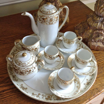 14 piece Noritake Demitasse set,  Gold Encrusted, Japanese