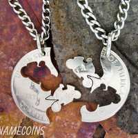 Motorcycle relationship interlocking coin necklaces