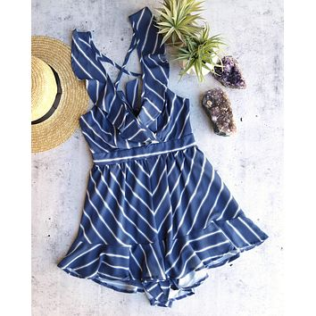 natalia - stripe it your way open back ruffle romper - blue/white
