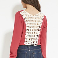 Crinkled Crochet-Back Top