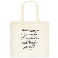 Frankenstein Tote  Book Bag  Mary Shelley Quote by NeverMorePrints