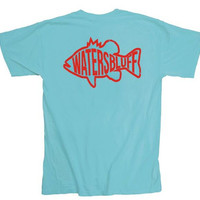 Waters Bluff Gettin' Fishy Short Sleeve Tee- Lagoon Blue