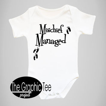 Mischief Managed baby bodysuit, Baby bodysuit, baby boy gift idea, newborn baby gift ideas, mischief managed, baby girl gift ideas