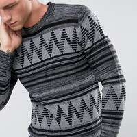 Only & Sons Knitted Sweater With Fairisle Knit at asos.com