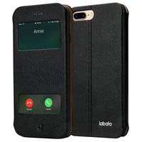 Labato iPhone 7 Plus PU Leather View Window Flip Protective Magnetic Case with S