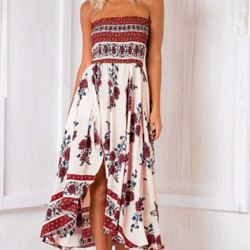 Fashion Flower Print Sleeveless Strapless Split Dress