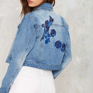 One With the Flowers Embroidered Denim Jacket
